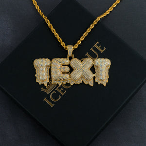 Ice Drip Custom Bubble Letter Pendant w/ Tennis or Rope Chain