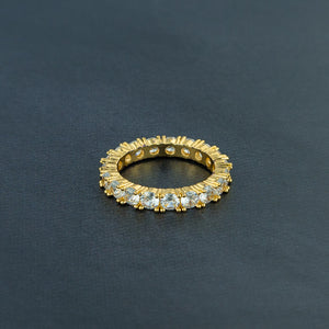 One Row Solitaire Ring