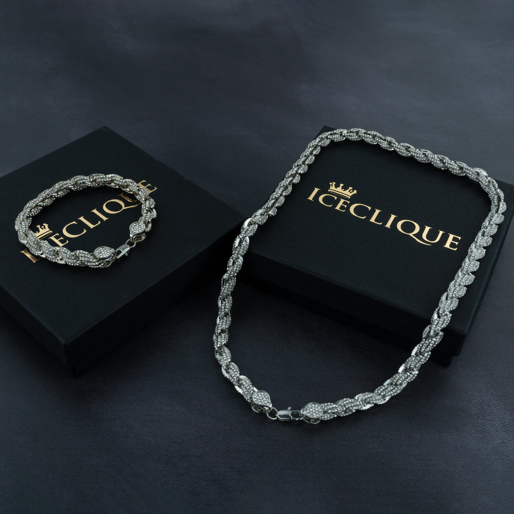9mm Iced Rope Bracelet & Chain Bundle