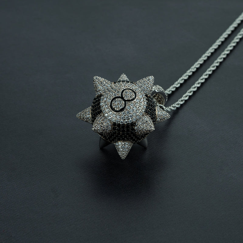 Iced Spiked 8-Ball Pendant