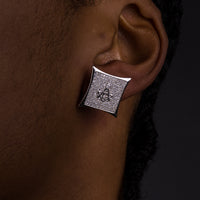 15mm Iced Square Masonic Earrings
