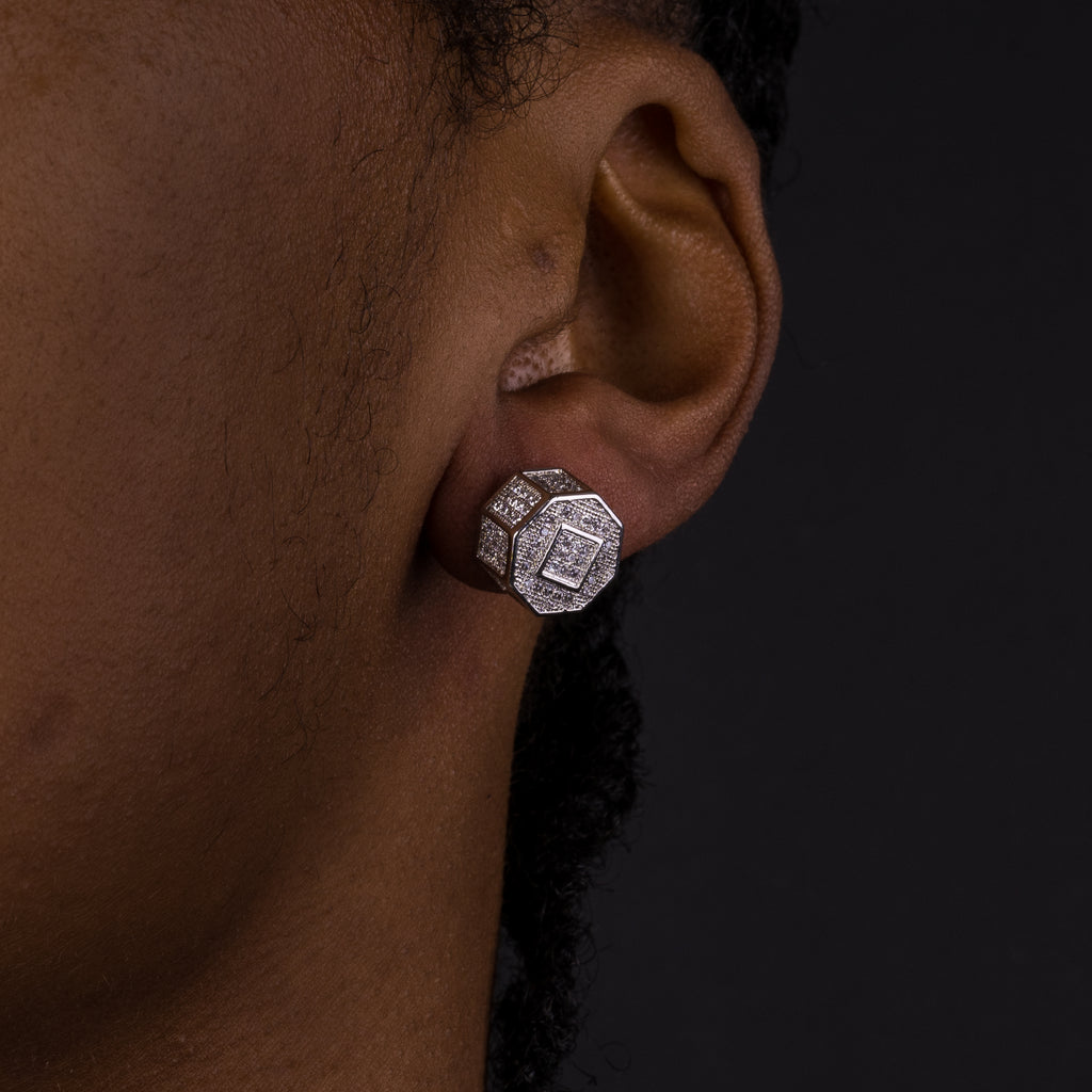 11mm Iced Screw Earrings