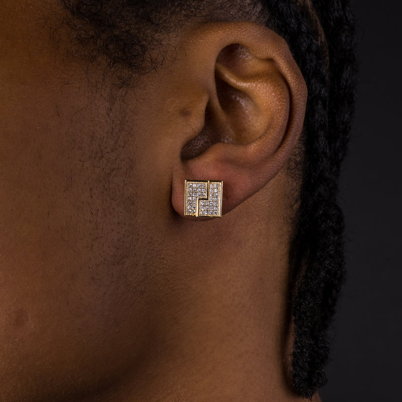10mm Iced Gold Lining Earrings
