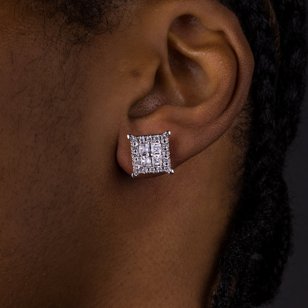 12mm Square Baguette Earrings
