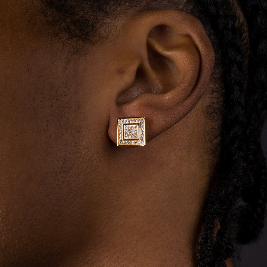 11mm Iced Double Square Earrings