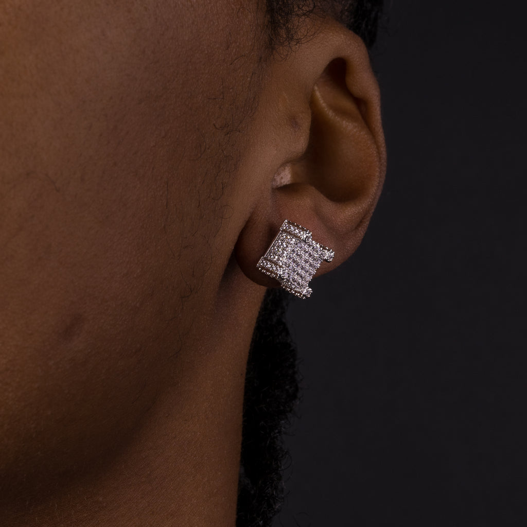 10mm 3D Cube Iced Earrings