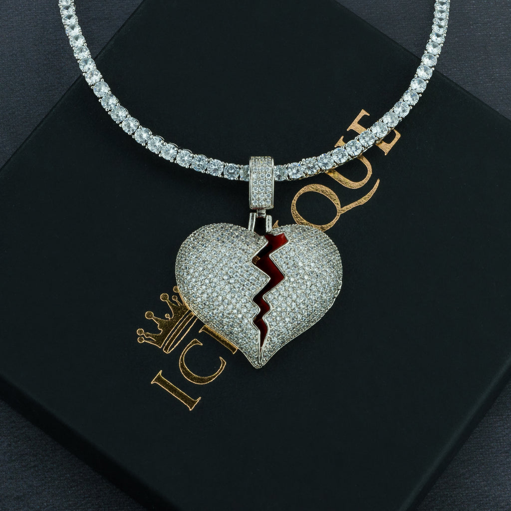 Frozen Heart Pendant w/ 4mm Tennis Chain