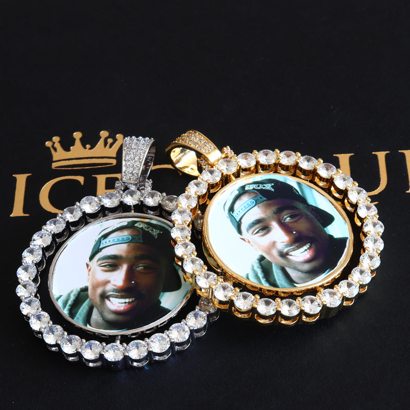 Iced Rotating Custom Photo Pendant