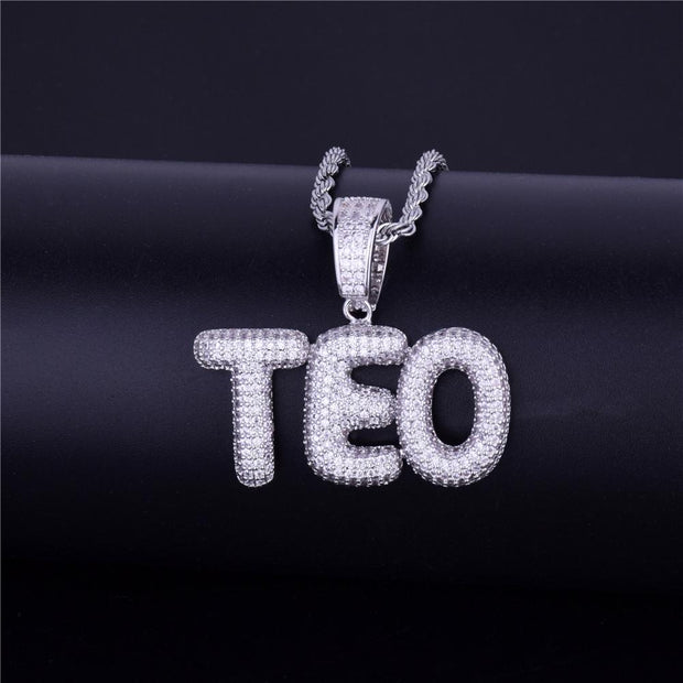 18K White Gold Plated Custom Small Bubble Letter Pendant w/ Tennis or Rope Chain - IceClique Jewelry