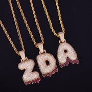 18K Gold Plated A-Z Red Drip Single Letter Custom Bubble Letter Pendant w/ Rope Chain - IceClique Jewelry