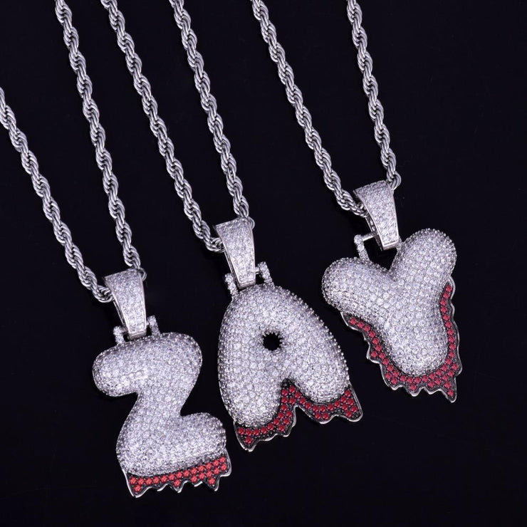18K White Gold Plated A-Z Red Drip Single Letter Custom Bubble Letter Pendant w/ Rope Chain - IceClique Jewelry