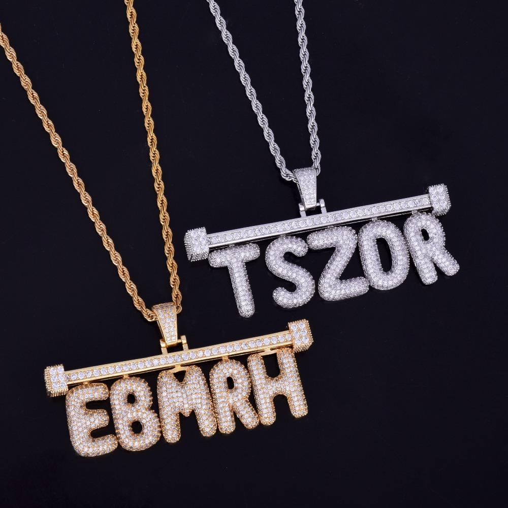 Iced Out Barred Custom Bubble Letter Pendant W Rope Or Tennis Chain