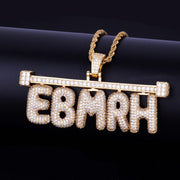 Iced Barred Custom Bubble Letter Pendant w/ Rope or Tennis Chain - IceClique Jewelry