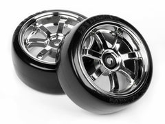 HPI T-Drift Tyres w/ Tire Rays 57s Pro Chrome Wheel 26mm 2pc HPI-4739