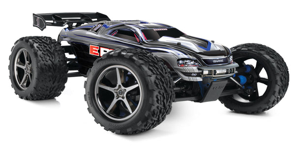 TRAXXAS E-REVO 4WD MONSTER TRUCK with Traxxas Link TQi 2 4G Bluetooth Radio  Gear, Twin Titan 550 Brushed Motors and EVX-2 Driveline, 2x Batteries and