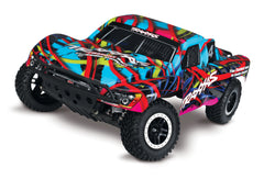 TRAXXAS SLASH 2WD SHORT COURSE TRUCK Hawaiian with TQ 2.4Ghz Radio, Brushed Motor & ESC, Battery & 4A DC Charger - 58034-1HWN