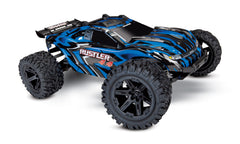 TRAXXAS RUSTLER 4WD STADIUM TRUCK Blue with TQ 2.4Ghz Radio, Brushed Driveline, Nimh Battery and 4A DC Fast Charger - 67064-1BLUE