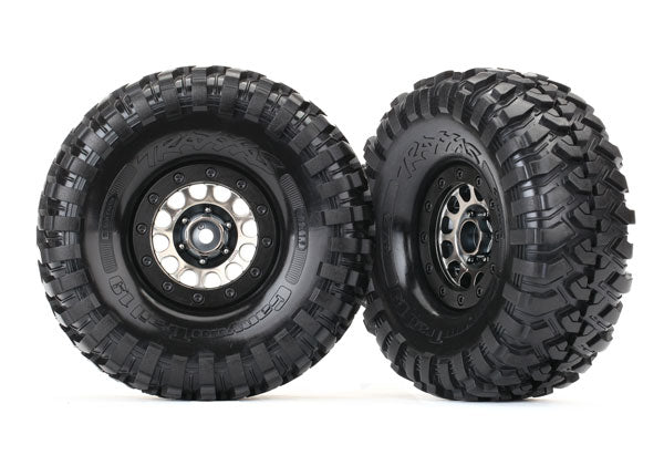 TRAXXAS TIRES & WHEELS, ASS 105 BLACK CHROME BEADLOCK, CANYON TRAIL 1.9in TIRES (1 LEFT, 1 RIGHT) - 8174