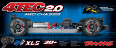 TRAXXAS 1:10 4-TEC 2.0 AWD CHASSIS KIT with TQ 2.4Ghz Radio, Brushed Motor and ESC - 83024-4