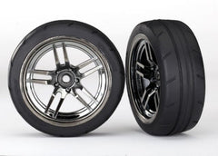 TRAXXAS 1:10 ONROAD FR BLCK CHR WHEEL RADIAL RUBBER TYRE 1.9IN - 8373