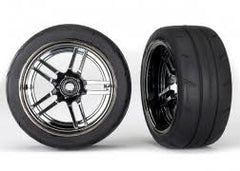 TRAXXAS 1:10 ONROAD RR BLCK CHR WHEEL RADIAL RUBBER TYRE 1.9IN - 8374