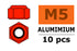 Nylstop nut M5 Red, Aluminium (10pcs) GF-0400-055