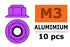 Flanged nylstop nut M3 Purple, Aluminium (10pcs) GF-0401-032