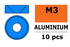 Washer M3 Blue for countersunk screws, Aluminium (10pcs) GF-0405-034