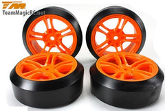 TEAM MAGIC Mounted 45deg Drift Tyre on Orange Spoked Wheel 4pck - TM503390