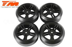 TEAM MAGIC Mounted 45deg Drift Tyre on Black Spoked Wheel 4pck - TM503390BK