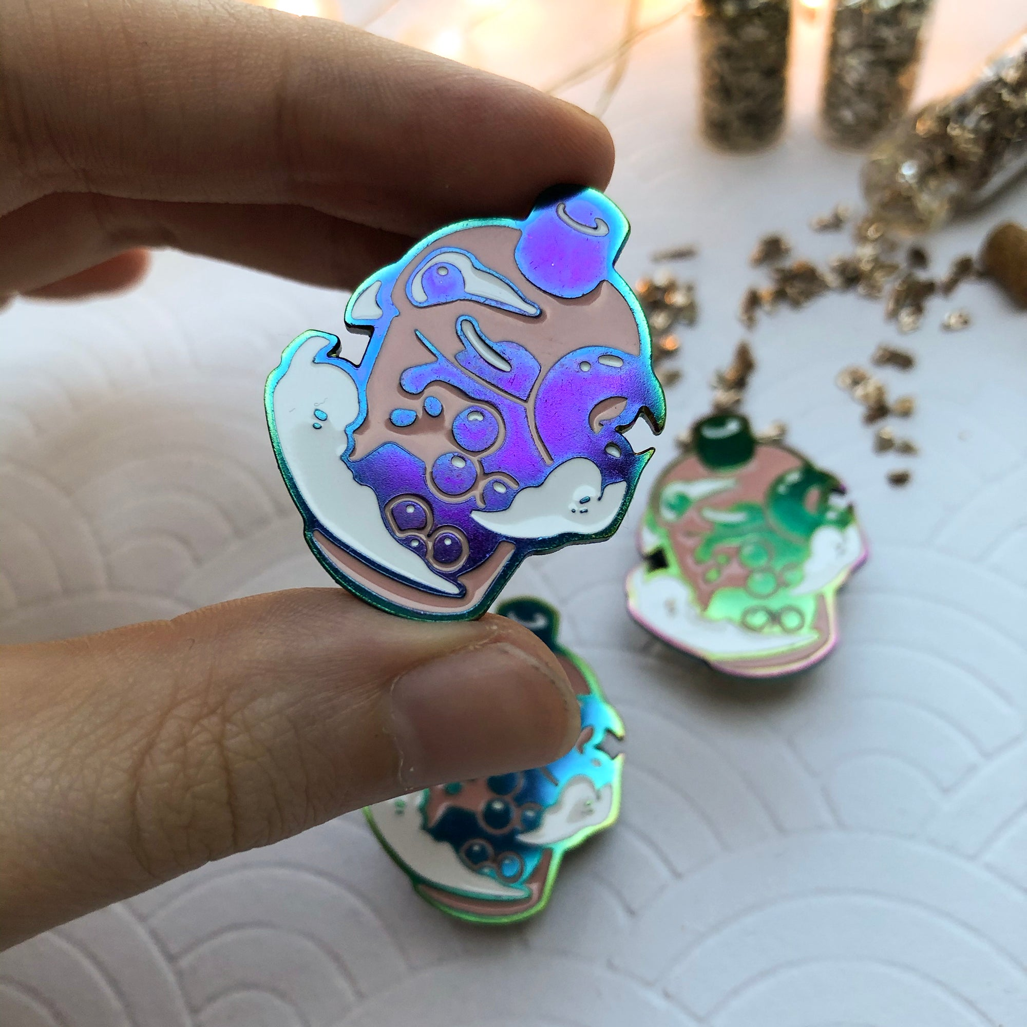 Rainbow Bubble Tea | Enamel Pin - Aurigae Art &Illustration