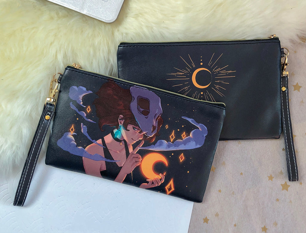 Silent Moon Faux Leather Pouch | Bags - Aurigae Art &Illustration