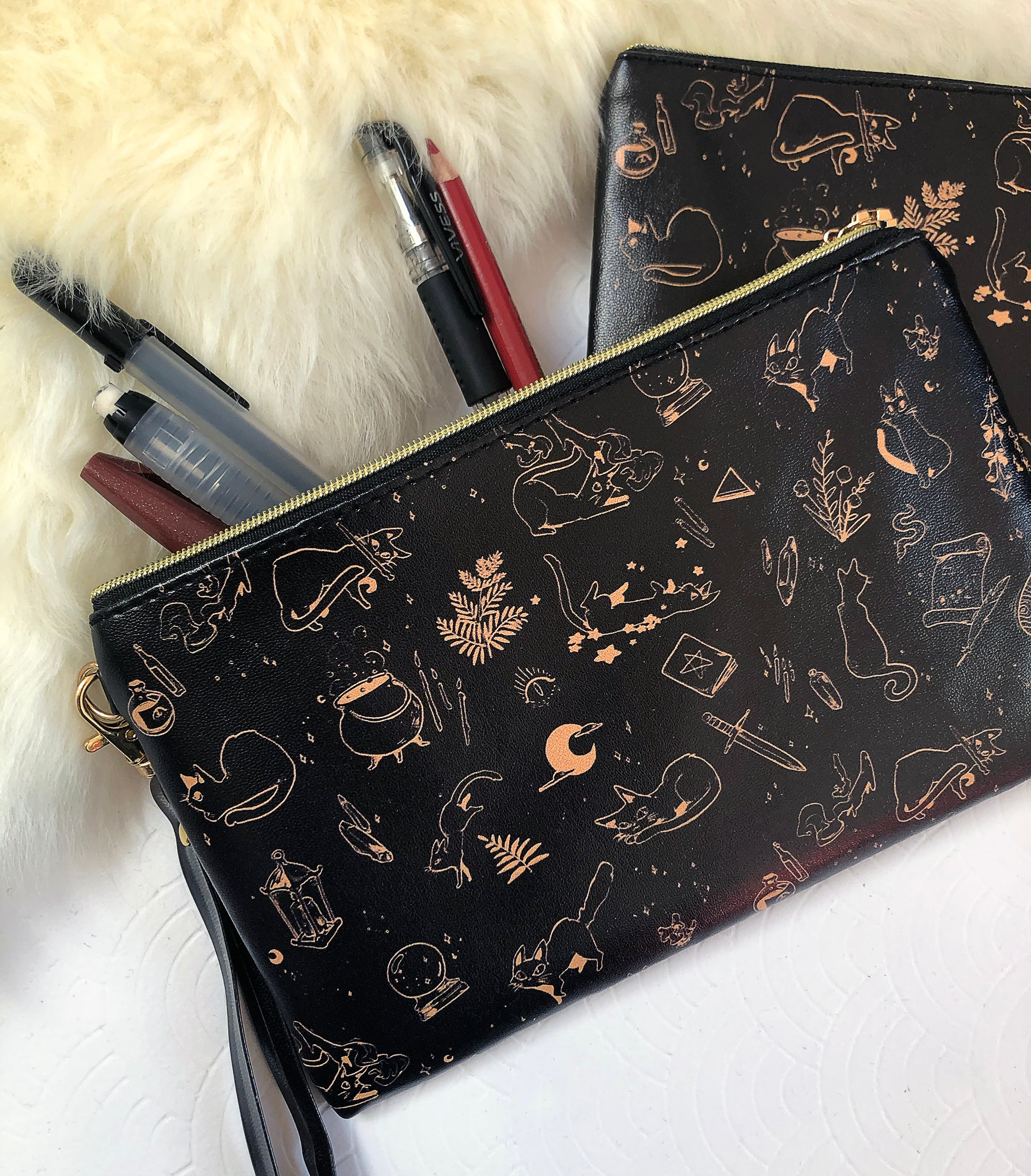 Witch's Kitten Faux Leather Pouch | Bags - Aurigae Art &Illustration