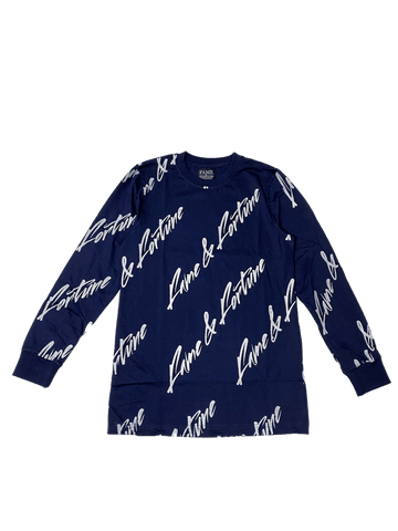 ALL-OVER FAME & FORTUNE NAVY/WHITE KIDS