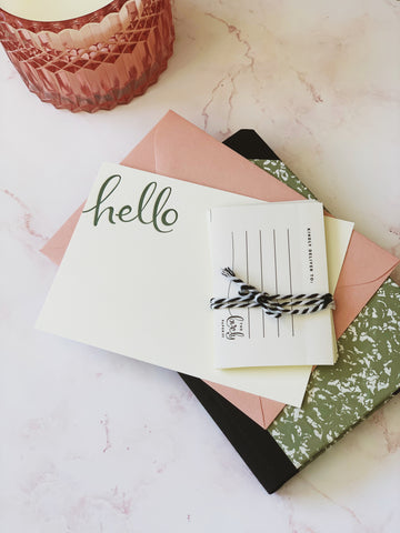 Seedling green ink 'hello' letterpress notecard set with envelopes