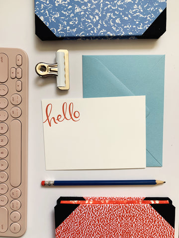 Rust ink 'hello' letterpress notecard set with envelopes