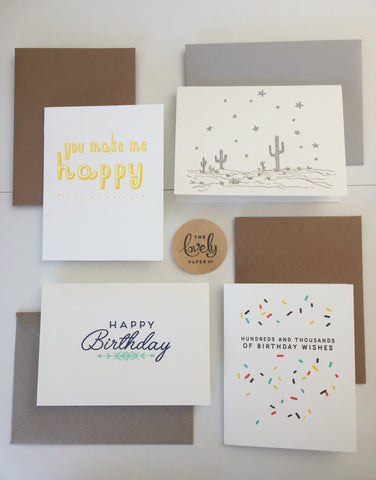 August card set - letterpress cards from Lovely Paper Co.