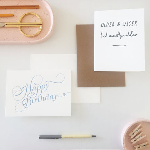 Set of two letterpress birthday cards