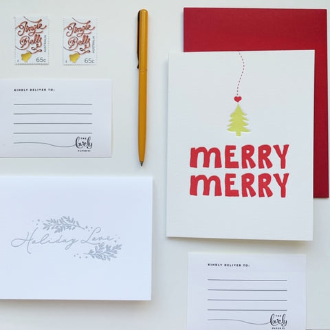 Christmas Cheer Duo - two pack of letterpress cards