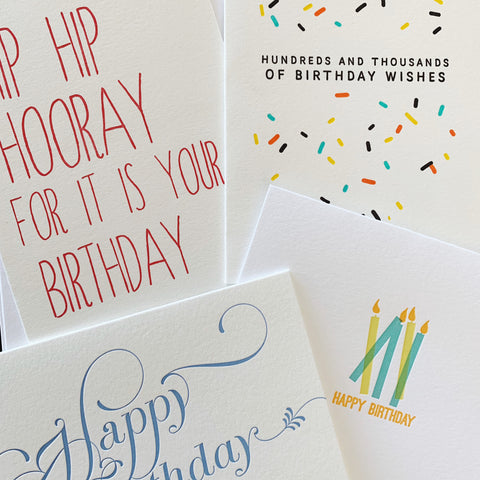 The Birthdays Set - Four pack of letterpress cards