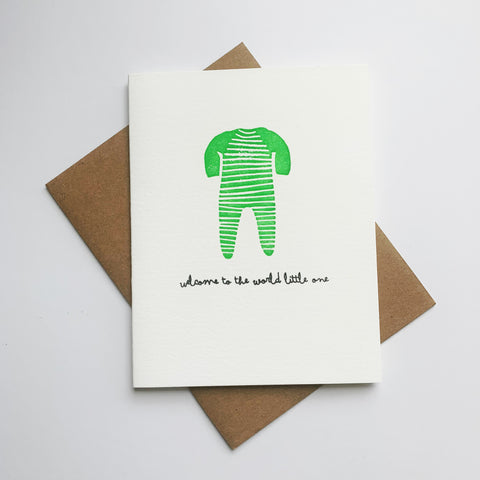 Welcome to the World - Single letterpress greeting card