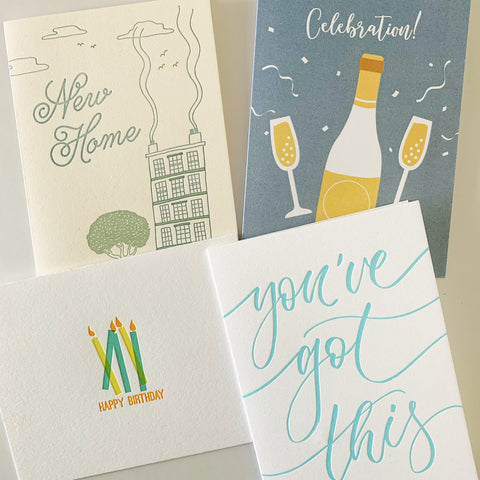 The July Set - Happy Birthday, New Home, Celebration Scratch & Reveal and You've Got This greeting cards