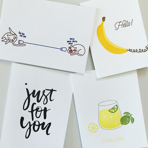 The Stay Connected Set - four pack of letterpress cards