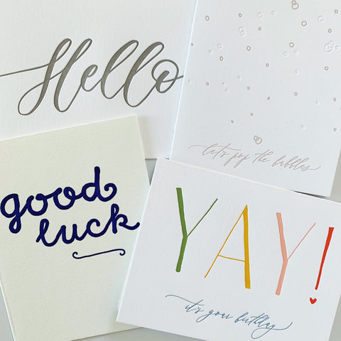 LAST CHANCE: The September Set - four pack of letterpress cards
