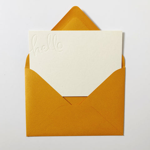 Hello Letterpress Notecard Set (Blind no ink)