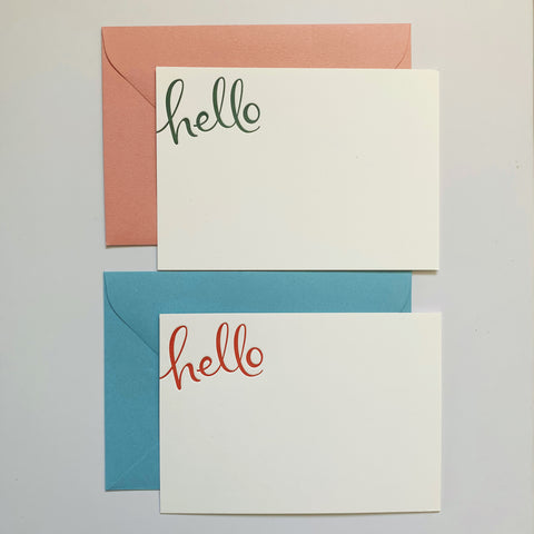 Hello Letterpress Notecard Set (Colour)