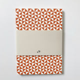 A5 Medium Layflat Notebook Kaffe Print in Brick Red/Plain Pages