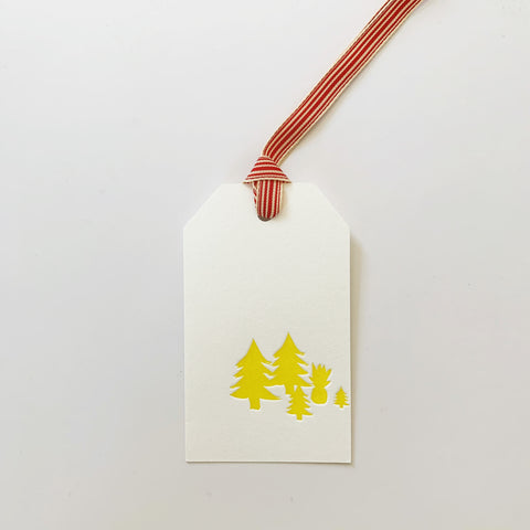 Pineapple Christmas trees letterpress gift tags - set of two