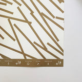 Recyclable Gift Wrap - Lines Print in Gold (Single Sheet)