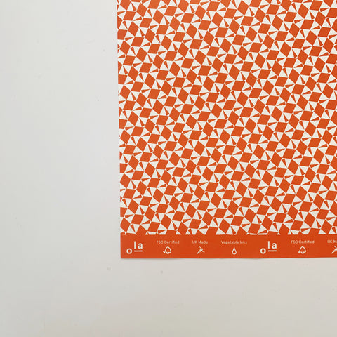 Recyclable Gift Wrap - Victor Print in Red (Single Sheet)